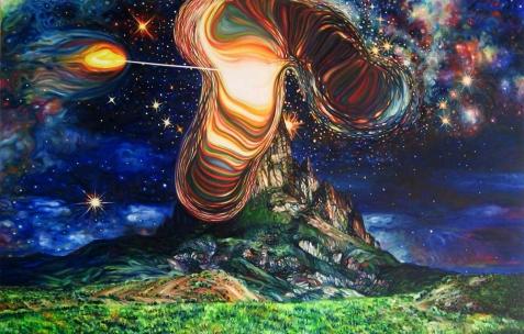 <p>David Morel, <strong><em>Cosmic 3</em></strong>, 2010, huile sur toile, 130x195cm. Vue de l&rsquo;exposition <em>Cadeau d'anniversaire n°1</em>, Néon, Lyon, 2010. Photo : JAC / Néon.</p>
