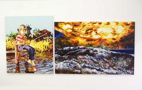 <p>(De gauche à droite) : David Morel, <strong><em>décembre 1981</em></strong>, 2007, huile sur toile, 145x120cm, <strong><em>Courbet</em></strong>, 2008, huile sur toile, 130x194cm. Vue de l&rsquo;exposition <em>Cadeau d'anniversaire n°1</em>, Néon, Lyon, 2010. Photo : JAC / Néon.</p>