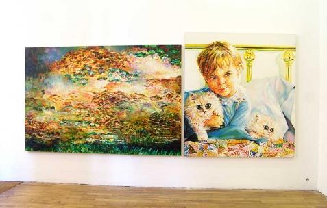 <p>(De gauche à droite) : David Morel, <strong><em>Monet</em></strong>, 2008, huile sur toile, 130x195cm, <strong><em>novembre 1981</em></strong>, 2006, huile sur toile, 145x130cm. Vue de l&rsquo;exposition <em>Cadeau d'anniversaire n°1</em>, Néon, Lyon, 2010. Photo : JAC / Néon.</p>