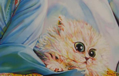 <p>David Morel, <strong><em>novembre 1981</em></strong> (détail), 2006, huile sur toile, 145x130cm. Vue de l'exposition <em>Cadeau d'anniversaire n°1</em>, Néon, Lyon, 2010. Photo : JAC / Néon.</p>