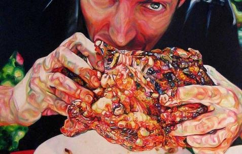 <p>David Morel, <strong><em>Baron Chicken</em></strong>, 2008, huile sur toile, 195x130cm. Vue de l&rsquo;exposition <em>Cadeau d'anniversaire n°1</em>, Néon, Lyon, 2010. Photo :JAC / Néon.</p>