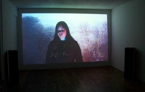 <p>Éléonore Saintagnan, <strong><em>Le Cercle</em></strong>, 2009, vidéo DV, 55min. Vue de l'exposition d'Éléonore Saintagnan, Néon, Lyon, 2010. Photo : JAC / Néon.</p>