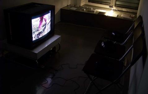 <p>Éléonore Saintagnan, <strong><em>Les petites personnes</em></strong>, 2003, vidéo DV, 17min. Vue de l'exposition d'Éléonore Saintagnan, Néon, Lyon, 2010. Photo : JAC / Néon.</p>