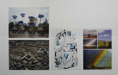 <p>(De gauche à droite): Olaf Breunong et Naze To Meet You pour <em>Broadcast Posters #4</em>, 2008, tirage numérique, couleur, recto verso, 50&#215;32,5cm. Bastien Aubry &amp; Dimitri Broquard et Emmanuelle Coqueray pour <em>Broadcast Posters #2</em>, 2007, tirage numérique, couleur, recto verso, 50&#215;32,5cm. Vue de l&rsquo;exposition <em>Broadcast Posters</em>, Néon, Lyon, 2010. Photo : Maxime Rizard / Néon.</p>