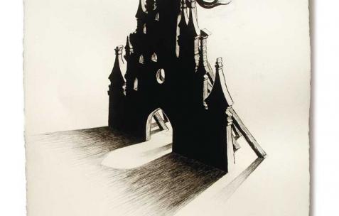 <p>Olivier Morvan, <strong><em>Citadelle</em></strong>, 2007, dessin sur papier, 105x70cm. Vue de l'exposition <em>Points Noirs</em>, Néon, Lyon, 2010. Photo : JAC / Néon, 2010.</p>
