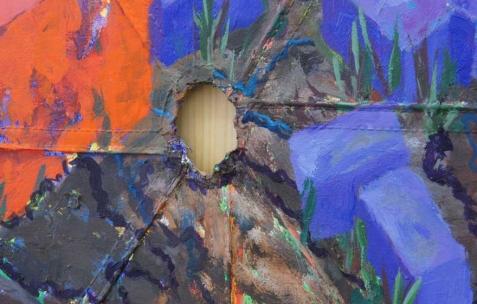 <p>Simon Bergala, <strong><em>Barnum</em></strong> (détail), 2011, peinture à l'huile toile de barnum tendue sur châssis, 290x240x30cm. Vue de l'exposition de Simon Bergala, Néon, Lyon, 2011. Photo : JAC / Néon.</p>