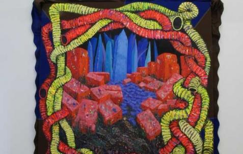 <p>Simon Bergala, <strong><em>Barnum</em></strong>, 2011, peinture à l&rsquo;huile toile de barnum tendue sur châssis, 290x240x30cm. Vue de l&rsquo;exposition de Simon Bergala, Néon, Lyon, 2011. Photo : JAC / Néon.</p>