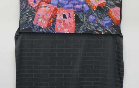 <p>Simon Begala, <strong><em>Unbefestigte Strasse</em></strong>, 2011, peinture à l'huile sur rideau, 210x100cm. Vue de l'exposition de Simon Bergala, Néon, Lyon, 2011. Photo : JAC / Néon.</p>