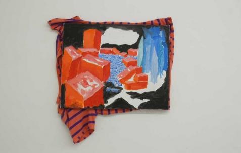 <p>Simon Bergala, <strong><em>Sans titre</em></strong>, 2011, peinture à l'huile sur T-Shirt tendu sur châssis, 40x80cm. Vue de l'exposition de Simon Bergala, Néon, Lyon, 2011. Photo : JAC / Néon.</p>