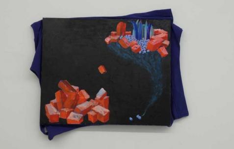 <p>Simon Bergala, <strong><em>Sans titre (le rêve)</em></strong>, 2010, peinture à l'huile sur T-Shirt tendu sur châssis, 40x80cm. Vue de l'exposition de Simon Bergala, Néon, Lyon, 2011. Photo : JAC / Néon.</p>