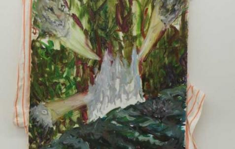<p>Simon Bergala, <strong><em>Isolat</em></strong>, 2010, peinture à l'huile sur T-Shirt tendu sur châssis, dimension variable, ici: 70x45cm. Vue de l'exposition de Simon Bergala, Néon, Lyon, 2011. Photo : JAC / Néon.</p>