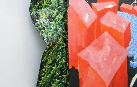 <p>Simon Bergala, <strong>Caduevo et Bororo </strong>(détail), 2010, peinture à l&rsquo;huile sur bâche imprimée sur châssis, dimension variable, ici: 200x260cm. Vue de l&rsquo;exposition de Simon Bergala, Néon, Lyon, 2011. Photo : JAC / Néon.</p>