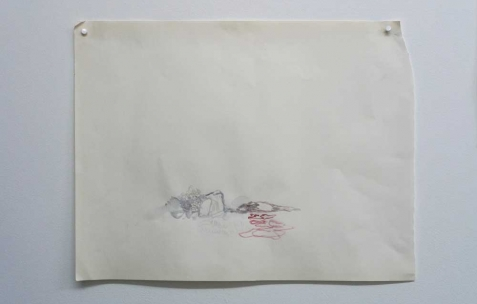 <p>Quentin Maussang, <strong><em>Sans titre</em></strong>, 2012, aquarelle, 24x32cm. Vue de l'exposition <em>Ah, ah, ah, animal</em>, Néon, Lyon, 2012. Photo : Maxime Rizard / Néon.</p>