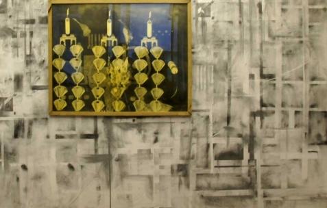 <p>Philip Vormwald, <strong><em>Dispositif de filtres</em></strong>, 2011, graphite sur papier, 90x120cm. Vue de l&rsquo;exposition <em>Précurseurs-sombres</em>, Néon, Lyon, 2012. Photo : JAC / Néon.</p>