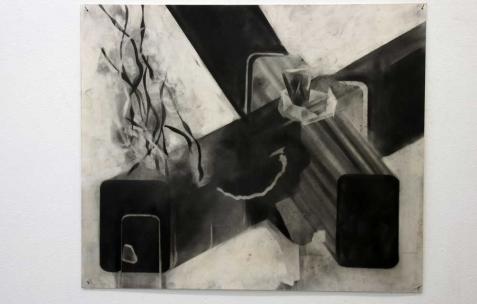 <p>Philip Vormwald, <strong><em>Bunker</em></strong>, 2011, graphite sur papier, 40x60cm. Vue de l&rsquo;exposition <em>Précurseurs-sombres</em>, Néon, Lyon, 2012. Photo : JAC / Néon.</p>