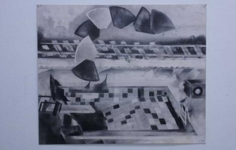 <p>Philip Vormwald, <strong><em>Indoor derrick</em></strong>, 2011, graphite sur papier, 40x60cm. Vue de l&rsquo;exposition <em>Précurseurs-sombres</em>, Néon, Lyon, 2012. Photo : JAC / Néon.</p>