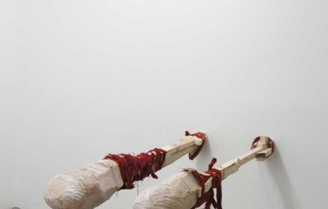<p>Luca Monterastelli, <strong><em>The polyglotte</em></strong>, 2012, bois, fer, tissu, 120x55x200cm. Vue de l'exposition <em>Graceland</em>, Néon, Lyon, 2012. Photo : JAC / Néon.</p>