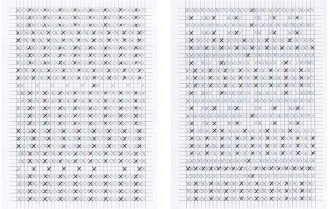 <p>Samuel Moncharmont, <strong><em>XXXX</em></strong> (détail), 2012, partitions. Vue de l'exposition <em>XXXX</em>, Néon, Lyon, 2012. Photo: JAC / Néon.</p>