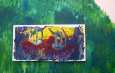 <p>Quentin Maussang, <b><i>Paresseux au fond de la jungle</i></b>, 2013, acrylique sur toile, 100x50cm. Vue de l'exposition <i>Être une chose</i>, Néon, Lyon, 2014. Photo : Néon, 2013.</p>
