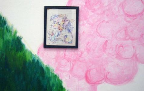 <p>Quentin Maussang, <b><i>Yo</i></b>, 2013, feutre sur papier encadré, 26,5&#215;32,5cm. Vue de l'exposition <i>Être une chose</i>, Néon, Lyon, 2014. Photo : Néon, 2013.</p>