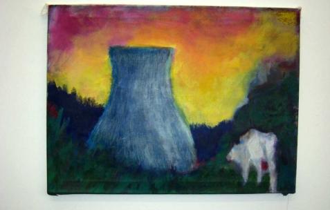 <p>Quentin Maussang, <b><i>Crépuscule</i></b>, 2013, acrylique sur toile, 80x60cm. Vue de l'exposition <i>Être une chose</i>, Néon, Lyon, 2014. Photo : Néon, 2013.</p>
