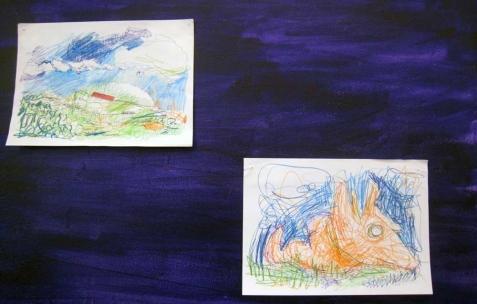 <p>(De gauche à droite) : Quentin Maussang, <b><i>La Nationale</i></b>, 2013, stylo bille, aquarelle et feutre, 29,7x21cm ; Quentin Maussang, <b><i>La bête</i></b>, 2013, stylo bille, aquarelle et feutre, 29,7x21cm. Vue de l'exposition <i>Être une chose</i>, Néon, Lyon, 2014. Photo : Néon, 2013.</p>