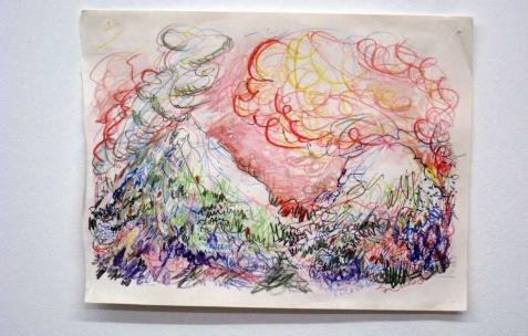 <p>Quentin Maussang, <b><i>Atmosphérique</i></b>, 2013, stylo bille, aquarelle et feutre, 32×23,5cm. Vue de l'exposition <i>Être une chose</i>, Néon, Lyon, 2014. Photo : Néon, 2013.</p>