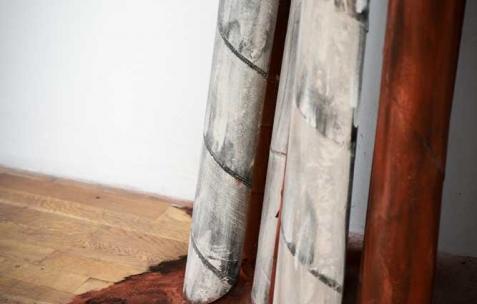 <p>Marzia Corinne Rossi, <b><i>Flesh out – Holofernes' variation</i></b>, 2014, papier de verre, fils de fer, plâtre et pigments colorés, 855x100x445cm. Vue de l'exposition <i>Flesh out</i>, Néon, Lyon, 2014. Photo : Anne Simonnot / Néon, 2014.</p>