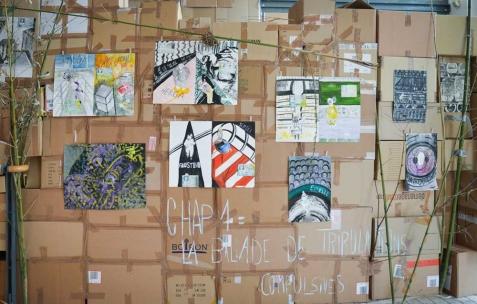<p>Juliacks, <b><i>Chapitre 1 : La Ballade de Tribulations Compulsive</i></b> (détail), 2013-2014, encre, estampe monotype, aquarelle sur papier, 50x65cm, série de 34 dessins / impressions. Vue de l'exposition <i>Architecture d'un atome</i>, Musée d'Art Contemporain, Lyon, 2015. Photo: Anne Simonnot / Néon, 2015.</p>