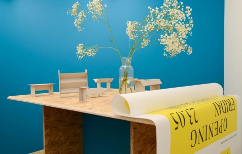 <p>Théophile's Papers, maquettes des différents meubles pour les <em>Panorama</em> (librairies pop up) réalisés entre 2011 et 2014. Théophile's Papers en résidence chez Néon 2014 &#8211; 2016. Vue de l'exposition <em>About book</em> <em>&#8211; A/F</em>. Photo : Anne Simonnot / Néon, 2014.</p>