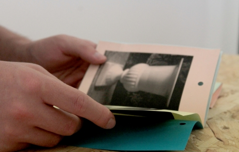 <p>Dieudonné Cartier, <strong><em>Selection of collection – N°14 – (Denereaz & Forget Berthoux)</em></strong>, photocopie sur papier couleur, 20 pages, 20 exemplaires numérotés, 10,5×14,8cm, édité par Théophile's Papers, produit par Néon, 2014. Théophile's Papers en résidence chez Néon 2014 – 2016. Vue de l'exposition <em>About book</em> <em>– A/F</em>. Photo : Julie Duffau / Néon, 2014.</p>