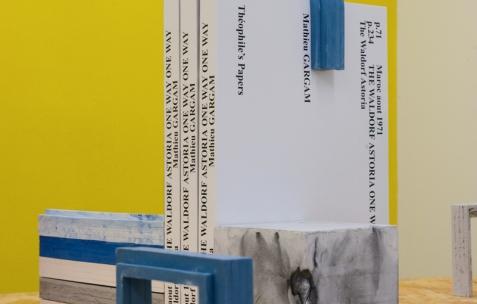<p>Mathieu Gargam, (…) <strong><em>The Waldorf Astoria</em></strong>, 270 pages, 50 exemplaires, Théophile's Papers, 20&#215;29,5cm. Christo Nogues, <strong><em>LUC &amp; BLOC</em></strong>, 2015, plâtre résiné, béton et pigments, Théophile's Papers, Néon, dimensions variables. Théophile's Papers en résidence chez Néon 2014 &#8211; 2016. Vue de l'exposition <em>About book</em> <em>&#8211; D/F</em>. Photo : Anne Simonnot / Néon, 2015.</p>