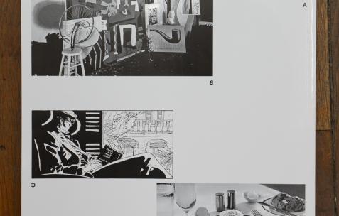 <p>Bizzarri & Rodriguez et Ève Chabanon avec les contributions d'Eva Barto, Nicolas Exertier, Emily King, Sébastien Morlighem,studioofficeabc (Brice Domingues andCatherine Guiral),Elodie Royer et Yoann Gourmel, <strong><em>Spécimen</em></strong>, 2015, 64 pages, Le Feu Sacré, 400 exemplaires, 24×31cm. Théophile's Papers en résidence chez Néon 2014 – 2016. Vue de l'exposition <em>About book</em> <em>– E/F</em>. Photo : Anne Simonnot / Néon, 2016.</p>