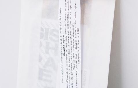 <p>Maeva Cunci &amp; Dominique Gilliot, <strong><em>Sysiphe Papier</em></strong>, 2012, publication, papier, cartons, plastique, pochette avec diverses impressions numériques, 16x23cm. Photo: Valentin Defaux / Néon, 2016.</p>