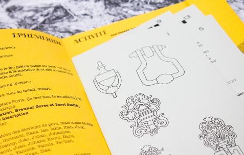 <p>Maeva Cunci & Dominique Gilliot, <strong><em>Sysiphe Papier </em></strong>(détail), 2012, publication, papier, cartons, plastique, pochette avec diverses impressions numériques, 16x23cm. Photo: Valentin Defaux / Néon, 2016.</p>