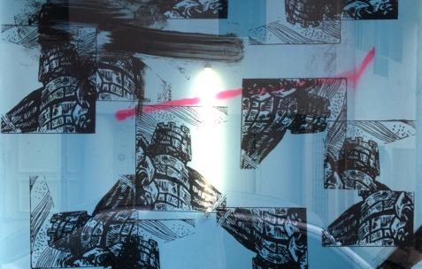 <p>Benjamin Collet & Pierre Gaignard feat. Christopher Wool, <strong><em>Rather Ripped</em></strong>, 2013, peinture, noix de coco, sérigraphie sur vitre. <em>Etudes pour un multiplex décomplexé (</em>Etude #12), résidence de Benjamin Collet & Pierre Gaignard chez Néon, 2012 et 2014. Photo : Benjamin Collet & Pierre Gaignard / Néon.</p>
