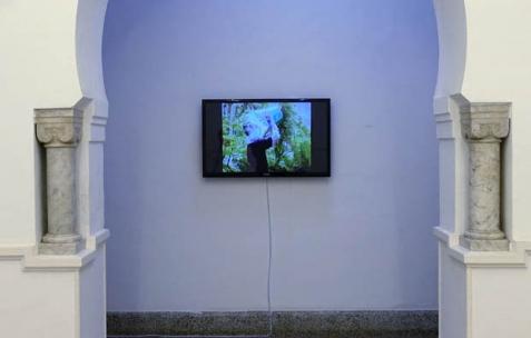 <p>Hugo Exbrayat, <strong><em>Entre deux eaux</em></strong>, 2004, vidéo, couleur, sonore, durée 12″. Vue de l'exposition <em>Les Mondes Parallèles, </em>Galerie Nuage (Maison de France), Sfax, 2016. Photo: Georges Rey, 2016.</p>