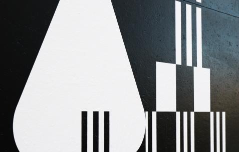<p>Superscript<sup>2</sup>, <strong><em>sans titre</em></strong> (détail), 2016, vinyle, peinture, dimensions variables, ici environ 500x700cm. Photo: Anne Simonnot/ Néon, 2016.</p>