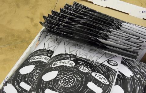 <p>Juliacks, <strong><em>Tableau Vivant</em></strong>, livret, papier, carton, impression numérique en noir et blanc, 20x14cm. Photo:JRM / Néon, 2012.</p>