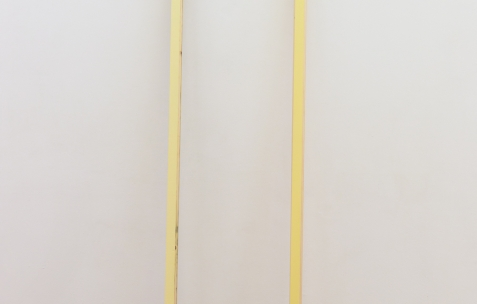 <p>Frédéric Houvert, <strong><em>Abies Turner</em></strong>, 2017, peinture acrylique, bois, tissu, céramique, 221x7x26cm, <strong><em>Abies O Monet</em></strong>, 2017, peinture acrylique, bois, tissu, céramique, 221xx7x26cm. Vue de l'exposition <em>Les Tournesols,</em> Frédéric Houvert invite Daniel Mato, Laurent Proux, Fabio Viscogliosi. Photo: Anne Simonnot / Néon, 2017.</p>