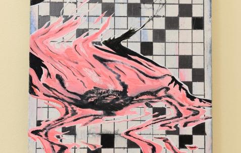 <p>Laurent Proux, sur Jaune Monet (Chromatic® & Seigneurie®), <strong><em>Devil night</em></strong>, 2015, huile sur toile, 35x27cm, courtoisie Galerie Sémiose, Paris (France). Vue de l'exposition <em>Les Tournesols,</em> Frédéric Houvert invite Daniel Mato, Laurent Proux, Fabio Viscogliosi. Photo: Anne Simonnot / Néon, 2017.</p>