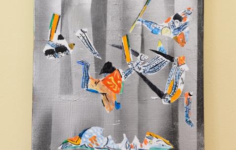 <p>Laurent Proux, sur Jaune Monet (Chromatic® & Seigneurie®),<strong><em> Bataille dans une</em></strong> <strong><em>poche</em></strong>, 2015, huile sur toile, 35x27cm, courtoisie Galerie Sémiose, Paris (France). Vue de l'exposition <em>Les Tournesols,</em> Frédéric Houvert invite Daniel Mato, Laurent Proux, Fabio Viscogliosi. Photo: Anne Simonnot / Néon, 2017.</p>