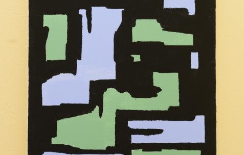 <p>Fabio Viscogliosi, sur Jaune Turner (Chromatic® & Seigneurie®), <strong><em>L'Echiquier</em></strong>, 2017,acrylique sur toile, 40x30cm. Vue de l'exposition <em>Les Tournesols,</em> Frédéric Houvert invite Daniel Mato, Laurent Proux, Fabio Viscogliosi. Photo: Anne Simonnot / Néon, 2017.</p>