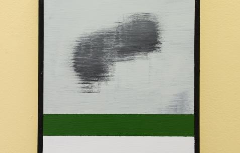 <p>Fabio Viscogliosi, sur Jaune Turner (Chromatic® &amp; Seigneurie®), <strong><em>Giacomo</em></strong>, 2016, acrylique sur toile, 18x25cm. A gauche (dans le bureau): – Frédéric Houvert Vue de l'exposition <em>Les Tournesols,</em> Frédéric Houvert invite Daniel Mato, Laurent Proux, Fabio Viscogliosi. Photo: Anne Simonnot / Néon, 2017.</p>