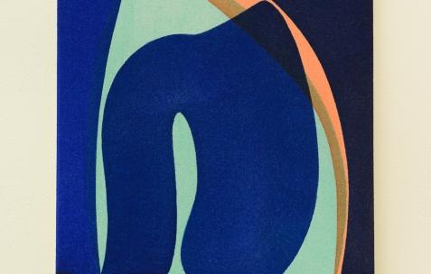 <p>Daniel Mato, sur Jaune Mondrian (Chromatic® &amp; Seigneurie®), <strong><em>sans titre</em></strong>, 2017, acrylique sur toile, 33x24cm. Vue de l'exposition <em>Les Tournesols,</em> Frédéric Houvert invite Daniel Mato, Laurent Proux, Fabio Viscogliosi. Photo: Anne Simonnot / Néon, 2017.</p>