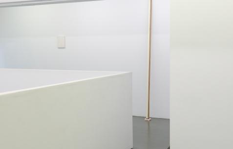 <p>Frédéric Houvert, <strong><em>Orchidaceae B</em></strong>, 2017, acrylique sur toile, 24x18cm, <strong><em>Quercus Mondrian</em></strong>, peinture acrylique, bois, tissu, céramique, 220x9x28cm. Vue de l'exposition <em>Les Tournesols,</em> Frédéric Houvert invite Daniel Mato, Laurent Proux, Fabio Viscogliosi. Photo: Anne Simonnot / Néon, 2017.</p>