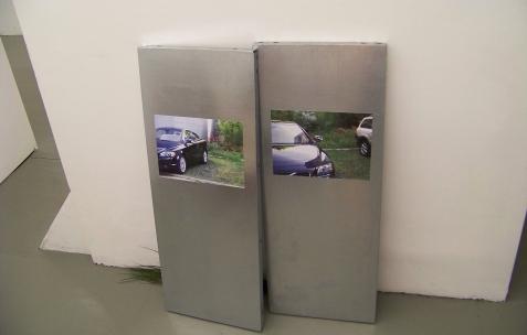 <p>Jean-Alain Corre, <strong><em>Prouffff</em></strong>, 2009, impression numériques sur aluminium, branche de plante verte, dimensions variables. Vue de l'exposition <em>Mineral Murder,</em> Néon, Lyon, 2009. Photo: JAC.</p>